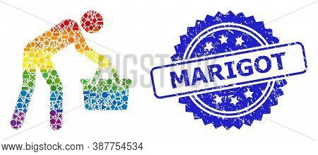 Spectrum Vibrant Vector Tired Buyer Persona Mosaic For Lgbt, And Marigot Textured Rosette Stamp. Blu