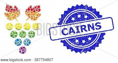 Bright Colorful Vector Grape Mosaic For Lgbt, And Cairns Grunge Rosette Stamp Seal. Blue Stamp Seal