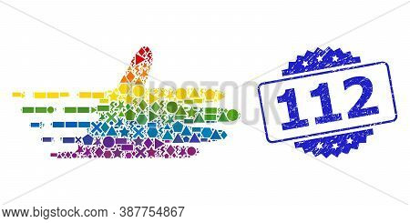 Spectrum Colored Vector Moving Hand Collage For Lgbt, And 112 Dirty Rosette Stamp. Blue Stamp Includ