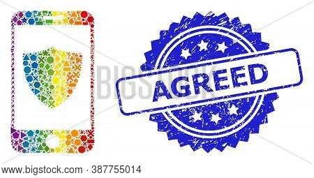 Spectrum Vibrant Vector Smartphone Shield Mosaic For Lgbt, And Agreed Rubber Rosette Stamp. Blue Sta