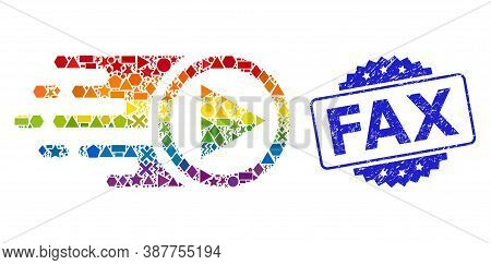 Rainbow Colored Vector Move Right Collage For Lgbt, And Fax Rubber Rosette Stamp Seal. Blue Stamp Se