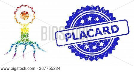 Bright Colored Vector Virus Cell Mosaic For Lgbt, And Placard Rubber Rosette Stamp Seal. Blue Stamp