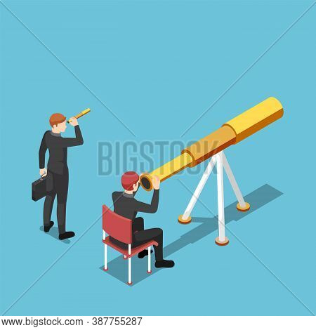 Flat 3d Isometric Businessman Use Bigger Telescope Than His Rival. Business Vision And Competition C