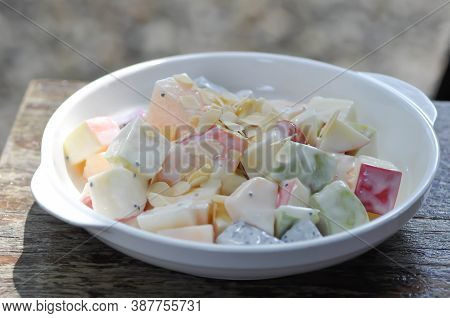 Fruit Salad, Apple And Cantaloupe Salad Or Mixed Fruit Salad