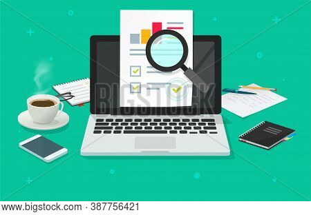 Financial Audit Research Analysis Sales Data Report Online On Laptop Computer Vector, Pc Analytics D