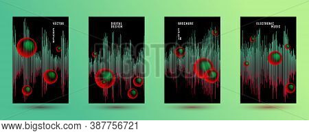 Music Banners Set With Dj Equalizer Background.  Abstract Digital Signal Amplitude.  Distorted Sound