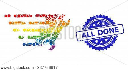 Spectrum Colored Vector Wrench Collage For Lgbt, And All Done Textured Rosette Stamp Seal. Blue Stam