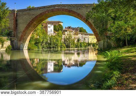 Ponte Della Concordia Or Diocleziano, Ancient Roman Bridge Over The River Metauro. Fossombrone, Prov
