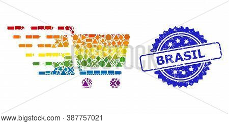 Spectrum Colored Vector Supermarket Cart Mosaic For Lgbt, And Brasil Corroded Rosette Stamp Seal. Bl