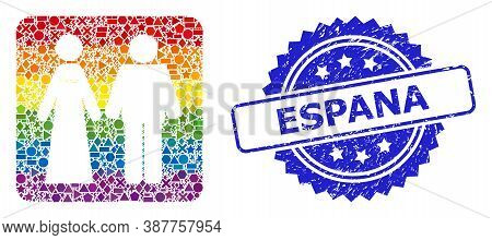Rainbow Colorful Vector Married Groom And Bribe Collage For Lgbt, And Espana Rubber Rosette Stamp Se