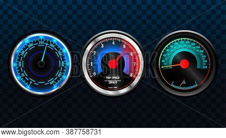 Realistic Vector Car Speedometer Interface. Power Meters, Fast Or Slow Internet Connection Speed Met