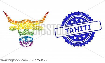 Bright Colored Vector Smiled Cow Head Mosaic For Lgbt, And Tahiti Rubber Rosette Seal. Blue Stamp Se