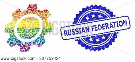 Spectrum Vibrant Vector Gear Mosaic For Lgbt, And Russian Federation Scratched Rosette Seal Imitatio