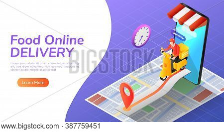 3d Isometric Web Banner Delivery Man Ride Motorcycle With Online Order Food And Home Delivering Serv