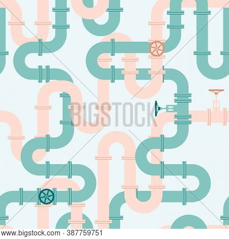 Pipeline Seamless Pattern. Intertwining Green And Pink Pipes With Taps. Vector Illustration In Flat