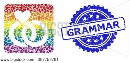 Rainbow Vibrant Vector Wedding Rings Mosaic For Lgbt, And Grammar Dirty Rosette Stamp Seal. Blue Sta