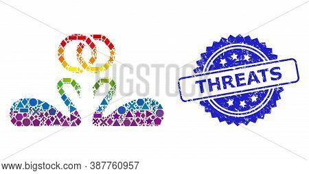 Rainbow Vibrant Vector Wedding Swans Mosaic For Lgbt, And Threats Grunge Rosette Stamp. Blue Stamp H
