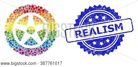 Rainbow Vibrant Vector Tire Wheel Collage For Lgbt, And Realism Unclean Rosette Seal Imitation. Blue