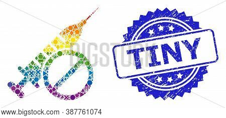 Spectrum Colored Vector No Vaccine Collage For Lgbt, And Tiny Dirty Rosette Seal Imitation. Blue Sta
