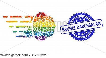 Bright Vibrant Vector Gas Cloud Mosaic For Lgbt, And Brunei Darussalam Rubber Rosette Stamp Seal. Bl