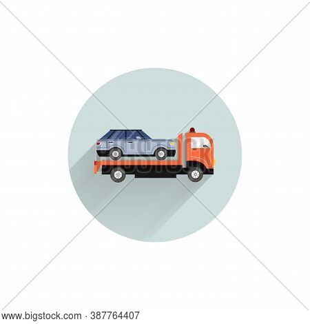Tow Truck With Car Colorful Flat Icon With Long Shadow. Tow Truck Flat Icon