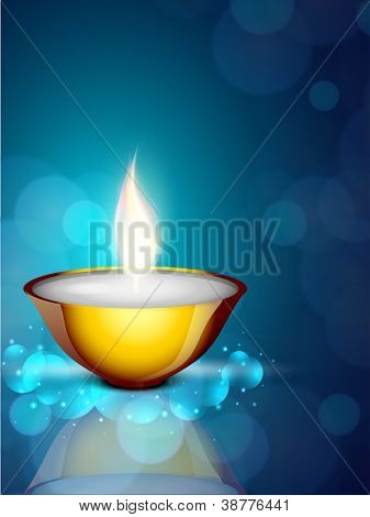 Greeting card with diya for Diwali festival in India. EPS 10.