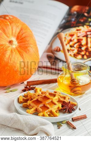 Delicious Homemade Healthy Pumpkin Spice Belgian Or Viennese Waffles  With Spices   Cinnamon, Anise,