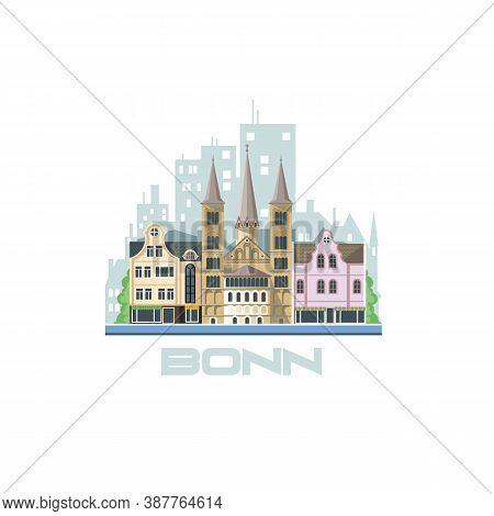 Bonn City Skyline. City Landscape With Ancient Architectural Buildings. Tourist Routes And Trips Acr