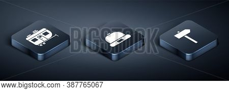 Set Isometric Rv Camping Trailer, Road Traffic Signpost And Beanie Hat Icon. Vector