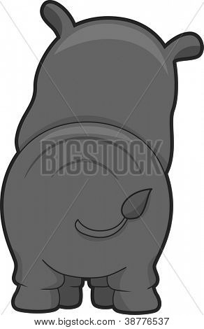 Illustration Featuring the Back View of a Rhinoceros