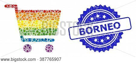 Spectrum Colorful Vector Shopping Cart Collage For Lgbt, And Borneo Corroded Rosette Stamp Seal. Blu