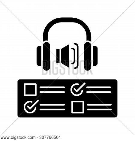 Listening Examination Black Glyph Icon. Comprehension Practice Tests. School And University Educatio