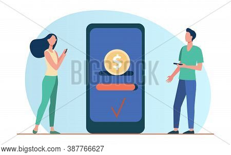 People Sending And Receiving Money. Mobile Phones, Transfer, Transaction Flat Vector Illustration. O