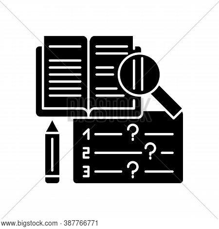 Reading Examination Black Glyph Icon. Comprehension Practice Tests. School And University Education.