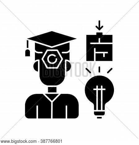 Case Based Exam Black Glyph Icon. Problems Solution And Idea. Hard Skills. Defence Of Competition. E