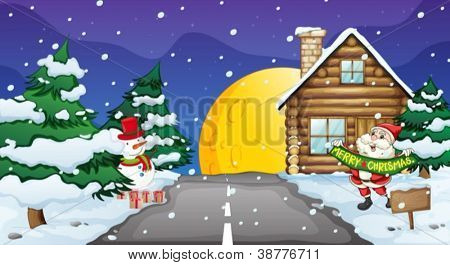 illustration of santa clause and snow man in nature
