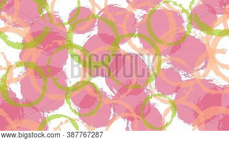 Modern Painted Circles Geometry Fabric Print. Circular Splotch Overlapping Elements Vector Seamless