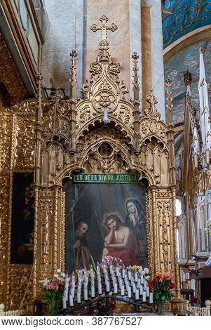 Quito, Ecuador - December 2, 2008: Convent And Church Of Santo Domingo. Painting In Elaborately Deco