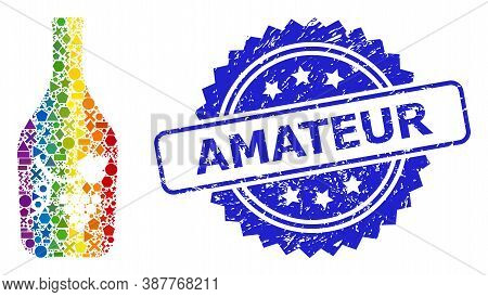 Bright Colorful Vector Wine Bottle Collage For Lgbt, And Amateur Corroded Rosette Seal Imitation. Bl