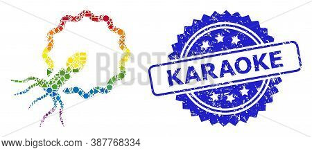 Rainbow Vibrant Vector Virus Penetrating Cell Mosaic For Lgbt, And Karaoke Corroded Rosette Seal Imi