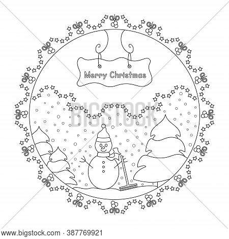 Snowman And Tree. Snow Falling. Winter Decor. Christmas Mandala. Coloring Page Christmas Theme. Vect