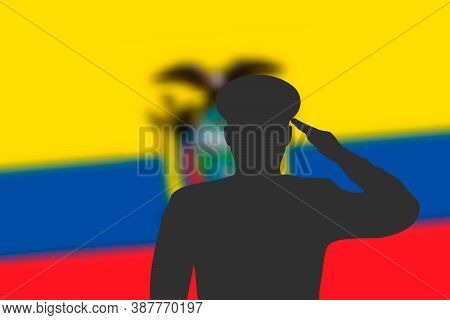 Solder Silhouette On Blur Background With Ecuador Flag.