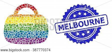 Rainbow Colorful Vector Handbag Mosaic For Lgbt, And Melbourne Dirty Rosette Stamp Seal. Blue Stamp