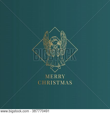 Merry Christmas Abstract Vector Classy Label, Sign Or Card Template. Hand Drawn Golden Angel Sketch