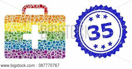 Bright Vibrant Vector Medical Kit Case Mosaic For Lgbt, And 35 Scratched Rosette Seal Print. Blue St
