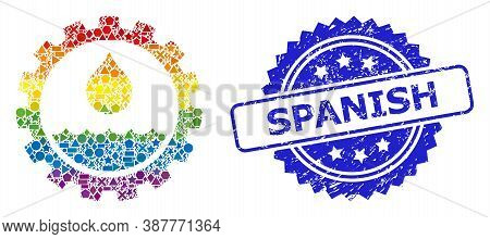 Rainbow Colored Vector Water Service Mosaic For Lgbt, And Spanish Dirty Rosette Stamp Seal. Blue Sea