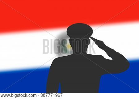 Solder Silhouette On Blur Background With Paraguay Flag.