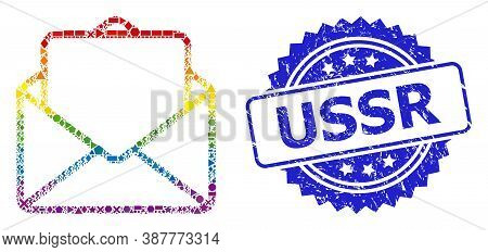 Bright Colored Vector Open Letter Mosaic For Lgbt, And Ussr Corroded Rosette Seal. Blue Stamp Seal C