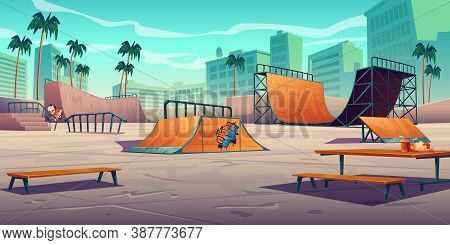 Skate Park With Ramps In Tropical City. Vector Cartoon Cityscape With Track For Skateboard, Picnic T