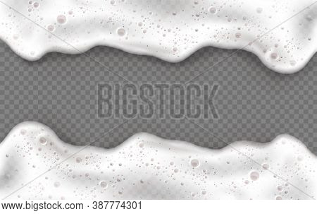 Foam Frame, White Beer Or Soap Froth Horizontal Border With Bubbles Texture, Foamy Sea Or Ocean Wave